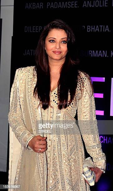 Indian Bollywood actor Aishwarya Rai poses for a photo during a promotional event for artists that used Indian Bollywood actor Amitabh Bachchanhim...