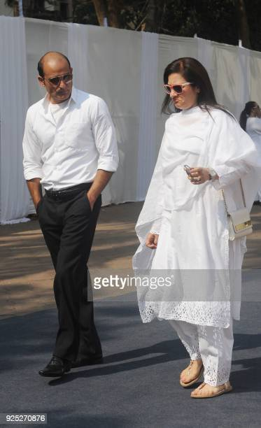 Indian Bollywood actor Akshay Khanna attends the funeral of legendary late Bollywood actress Sridevi Kapoor in Mumbai on February 28 2018 Thousands...