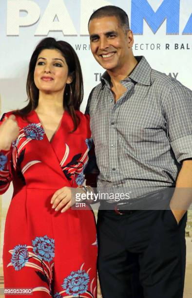 Indian Bollywood actor Akshay Kumar and actress Twinkle Khanna pose for a photograph during a promotional event for the forthcoming Hindi film...