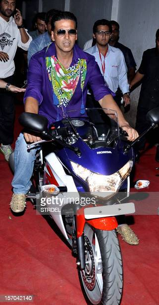 "Indian Bollywood actor Akshay Kumar arrives for a promotional event for the forthcoming Hindi film ""Khiladi 786"" directed by Ashish R Mohan in Mumbai..."