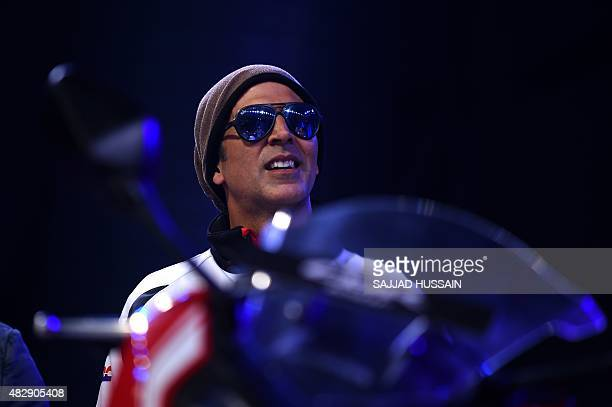 Indian Bollywood actor Akshay Kumar looks on during the launch of the Honda CBR650F middleweight sport bike the first of Honda's 'MakeinIndia' tourer...