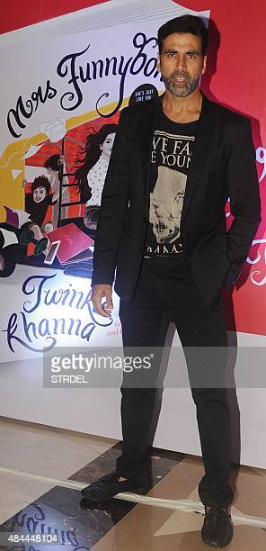 Indian Bollywood actor Akshay Kumar poses for a photograph during the launch of the 'Miss Funnybones' book written by actress columnist and interior...