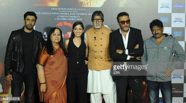 Indian Bollywood actor Amit Sadh actresses Rohini Hathangadi Yami Gautam actors Amitabh Bachchan and Jackie Shroff pose with director Ram Gopal Varma...