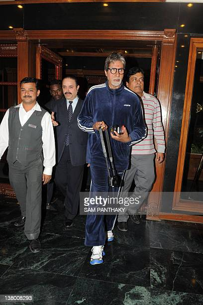 Indian Bollywood actor Amitabh Bachchan arrives at The Gateway Hotel Ummed in Ahmedabad on January 31 2012 Bachchan is touring many regions of...