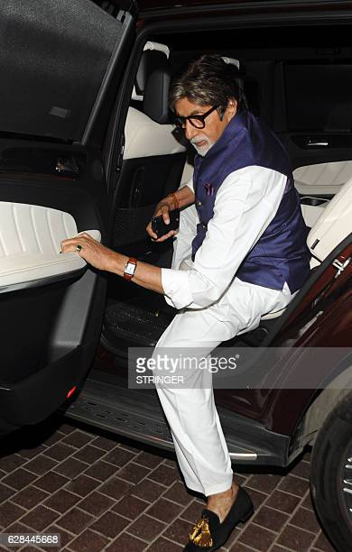 Indian Bollywood actor Amitabh Bachchan arrives for the mahurat inauguration of the Marathi film 'Bhikari' produced and directed by Ganesh Acharya in...