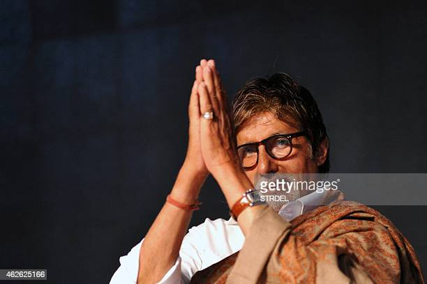 Indian Bollywood actor Amitabh Bachchan attends an event organised by the Rotary Club of Bombay in Mumbai on February 1 2015 AFP PHOTO/STR