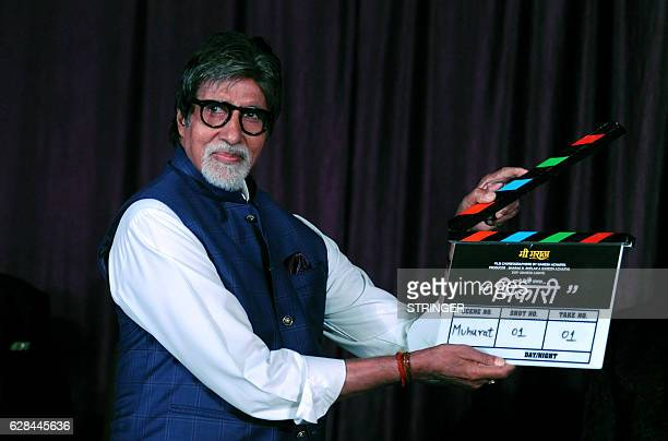 Indian Bollywood actor Amitabh Bachchan attends the mahurat inauguration of the Marathi film 'Bhikari' produced and directed by Ganesh Acharya in...
