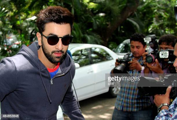 Indian Bollywood actor and coowner of Mumbai City Football Club Ranbir Kapoor arrives at the unveiling of the team's new Puma home kit for Mumbai...