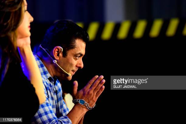 Indian Bollywood actor and host of reality television program Bigg Boss season 13 Salman Khan gestures during the show's press conference at Metro...