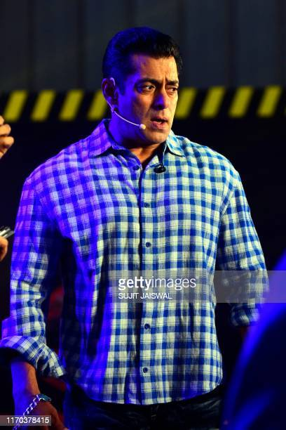 Indian Bollywood actor and host of reality television program Bigg Boss season 13 Salman Khan speaks during the show's press conference at Metro...