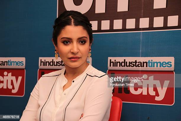 Indian Bollywood actor Anushka Sharma during an exclusive interview for her upcoming movie NH10 at HT Media Office on March 10 2015 in New Delhi India