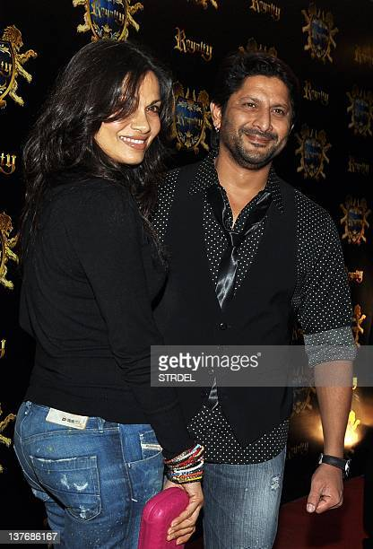 Indian Bollywood actor Arshad Warsi and wife Maria Goretti attend the prewedding party of Indian Bollywood actors Ritesh Deshmukh and Genelia D'souza...