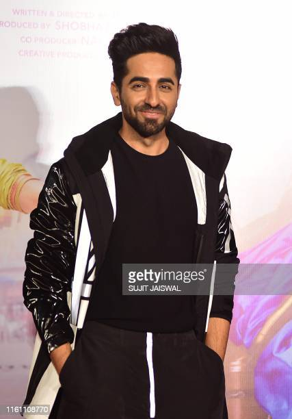 Indian Bollywood actor Ayushmann Khurrana poses during the trailer launch of the upcoming Hindi film 'Dream Girl' in Mumbai on August 12 2019