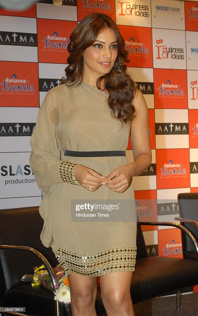 Indian Bollywood actor Bipasha Basu during the promotion of film Aatma at Reliance Trends Hill Road Bandra on March 21 2013 in Mumbai India Bollywood.