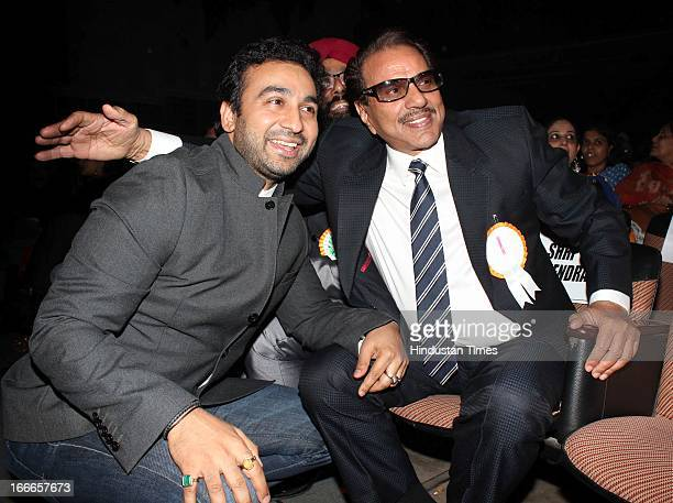 Indian Bollywood actor Dharmendra with Raj Kundra at Baisakhi Celebration cohosted by G S Bawa and Punjab Association Of India on April 13 2013 in...