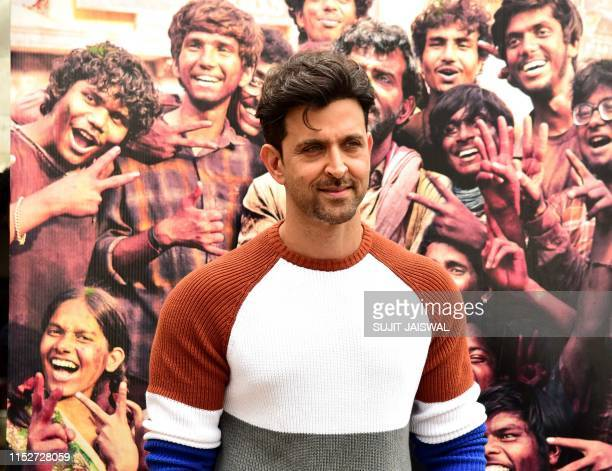 Indian Bollywood actor Hrithik Roshan poses during the promotion of the upcoming Hindi film 'Super 30' based on the life of mathematician Anand Kumar...