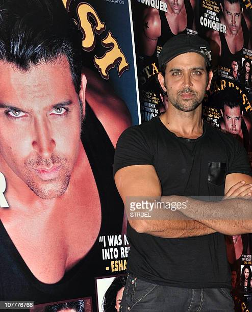 Indian Bollywood actor Hritik Roshan poses during the launch of Stardust magazine's new year's issue in Mumbai on December 23 2010 AFP PHOTO/STR