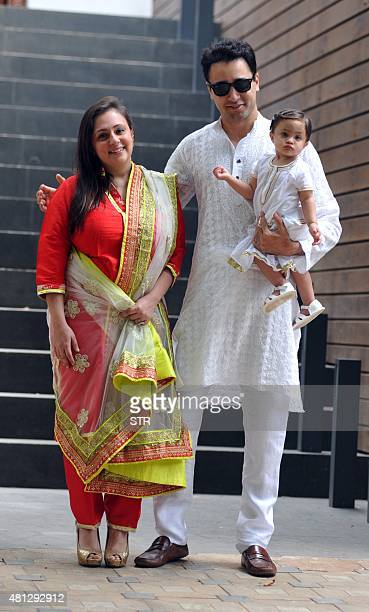 Indian Bollywood actor Imran Khan with his wife Avantika Malik and baby celebrates and wishes his fans Ramzan Eid Mubarak at his residence in Mumbai...