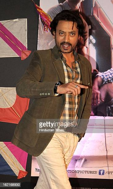 Indian bollywood actor Irrfan Khan during the premiere of movie 'Kai Po Che' at Cinemax on February 18, 2013 in Mumbai, India.