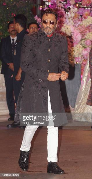 Indian Bollywood actor Jackie Shroff arrives at the preengagement party of India's richest man and Reliance Industries Limited Chairman Mukesh...