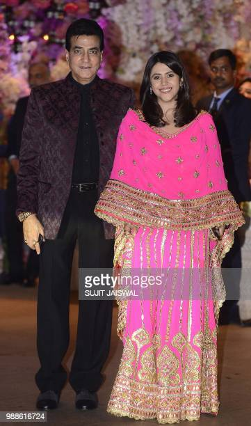 Indian Bollywood actor Jeetendra with daughter Ekta Kapoor attend the preengagement party of India's richest man and Reliance Industries Limited...