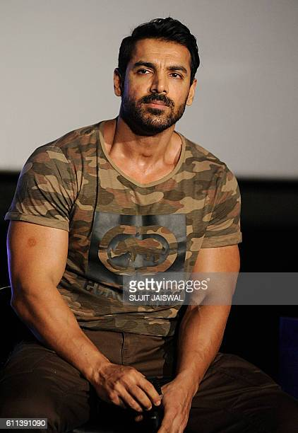 Indian Bollywood actor John Abraham poses during the trailer launch of the upcoming Hindi film Force 2 directed by Abhinay Deo in Mumbai on September...