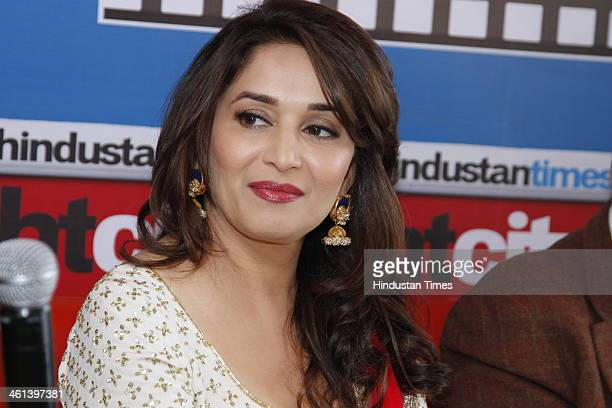 Indian Bollywood actor Madhuri Dixit during an exclusive interview for the promotion of upcoming movie Dedh Ishqiya at HT Media Office on January 6...
