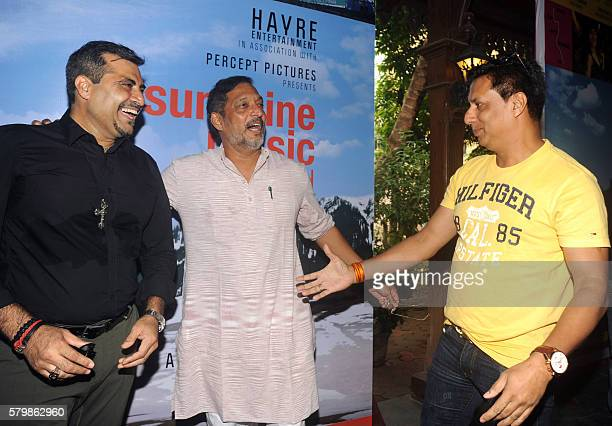 Indian Bollywood actor Nana Patekar director Madhur Bhandarkar and producer Shailendra Singh attend the launch of the film 'Sunshine Music Tours and...