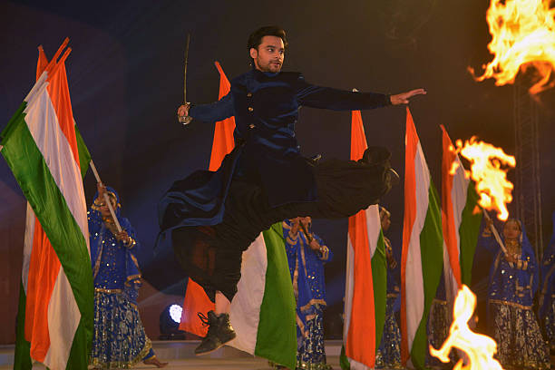 Indian Bollywood actor Nav Bajwa performs during an inauguration ceremony of the historic Gobindgarh fort in Amritsar on December 12 2016 The...