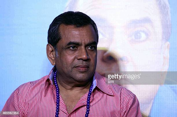 Indian Bollywood actor Paresh Rawal looks on during the trailer launch of his upcoming Hindi film Dharam Sankat Mein in Mumbai on March 7 2015 AFP...