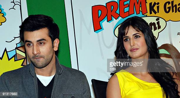 Indian Bollywood actor Ranbir Kapoor and actress Katrina kaif attend the soundtrack launch for Bollywood movie 'Ajab Prem Ki Ghazab Kahani' in Mumbai...