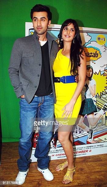 Indian Bollywood actor Ranbir Kapoor and actress Katrina kaif pose as they attend the soundtrack launch for Bollywood movie 'Ajab Prem Ki Ghazab...