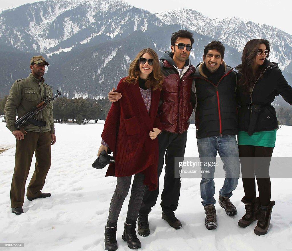 Indian Bollywood actor Ranbir Kapoor and Deepika Padukone during shooting for their upcoming movie 'Yeh jawaani hai Dewaani' on January 30, 2013 at Pahalgam some 100 kms from Srinagar , India.