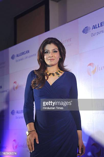 Indian Bollywood Actor Raveena Tandon during the launch of Juvederm Refine a facial aesthetic product by Allergan Healthcare India at Trident Nariman...