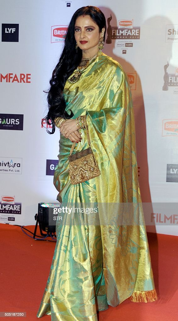 Indian Bollywood actor Rekha attends the '61st Filmfare Awards 2016