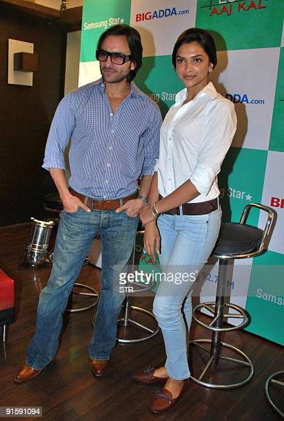 Indian Bollywood Actor Saif Ali Khan And Actress Deepika Padukone Pose During A Press Conference Where