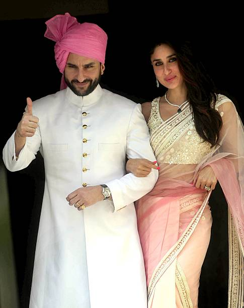 Indian Bollywood Actor Saif Ali Khan L With His Wife Kareena Kapoor Attend