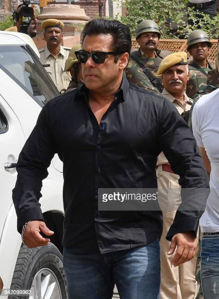 Indian Bollywood actor Salman Khan arrives at a court to hear the verdict in the longrunning wildlife poaching case against him in Jodhpur on April 5...