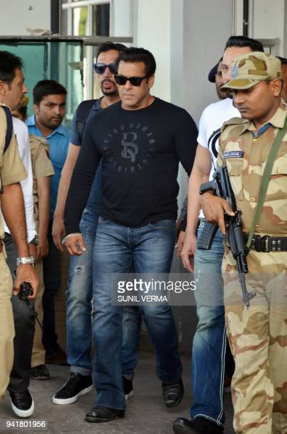 Indian Bollywood actor Salman Khan arrives at the airport in Jodhpur on April 4 2018 ahead of a verdict in the longrunning blackbuck poaching case...