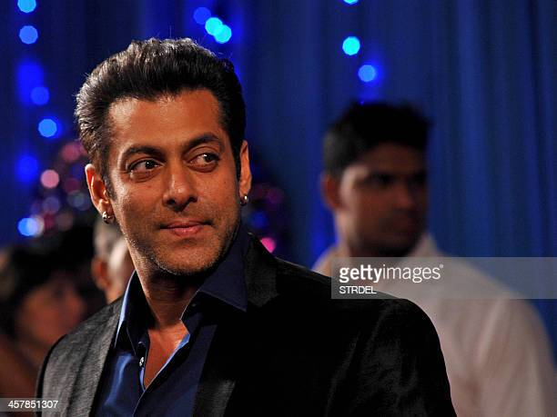 Indian Bollywood actor Salman Khan attends the BIG Star Entertainment Awards ceremony in Mumbai on December 18 2013 AFP PHOTO/STR