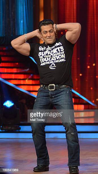 Indian Bollywood actor Salman Khan dances during a promotional event for Hindi film Ek Tha Tiger in Mumbai on August 14 2012