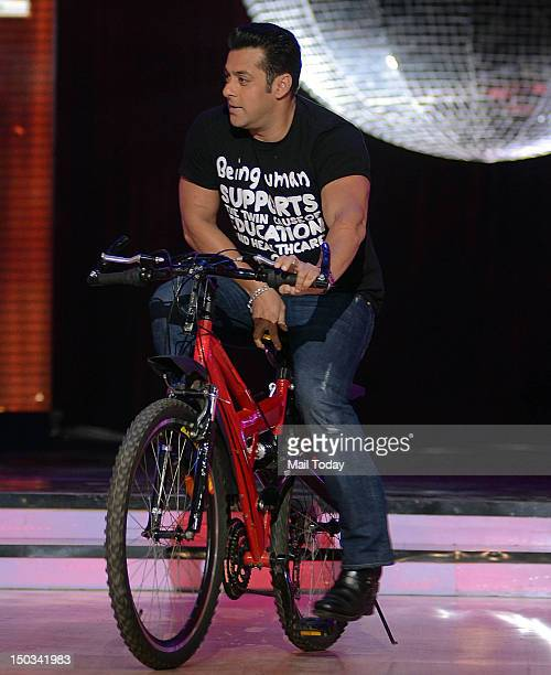 Indian Bollywood actor Salman Khan during a promotional event for Hindi film Ek Tha Tiger in Mumbai on August 14 2012
