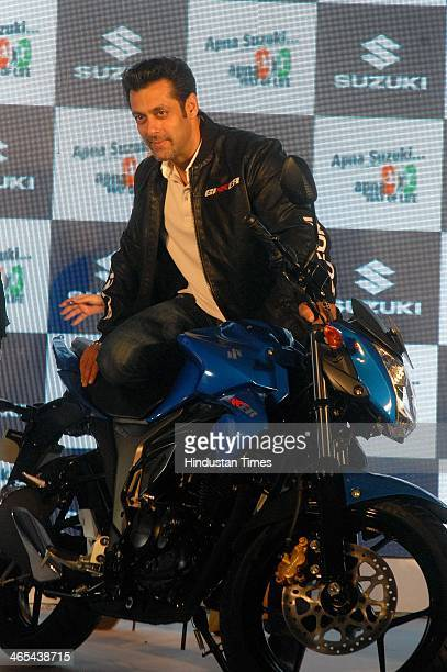 Indian Bollywood actor Salman Khan during the launch of Suzuki twowheelers two new offerings 155cc motorcycle Gixxer and a 110cc scooter Lets at Taj...