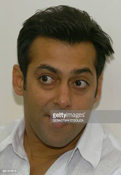 Indian Bollywood actor Salman Khan is pictured during a press meeting at the launch of his latest film 'Maine Pyaar Kyon Kiya' in Mumbai 23 June 2005...