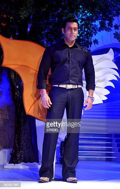 Indian Bollywood actor Salman Khan looks on during a press conference for the reality game show BIGG BOSS Season 7 in Mumbai on September 11 2013 AFP...