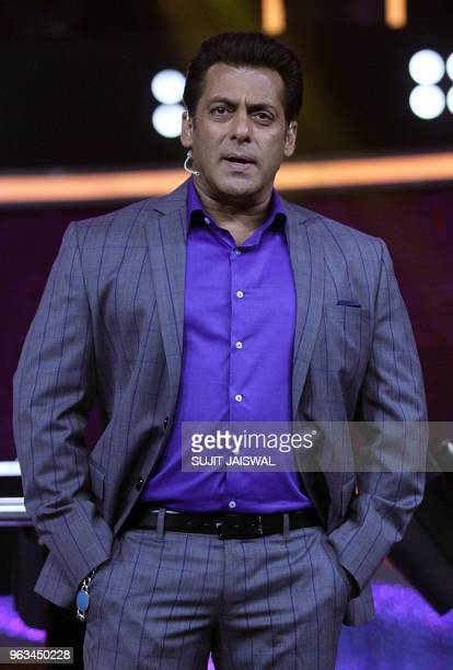 Indian Bollywood actor Salman Khan looks on during the '10 Ka Dum' Sony Entertainment Television reality game show in Mumbai on May 28 2018