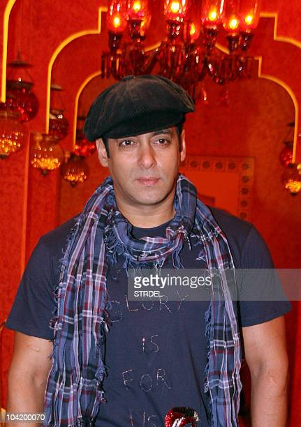 Indian Bollywood actor Salman Khan poses during filming for a music video for Indian television reality show 'Bigg Boss 4' in Mumbai on September 16...
