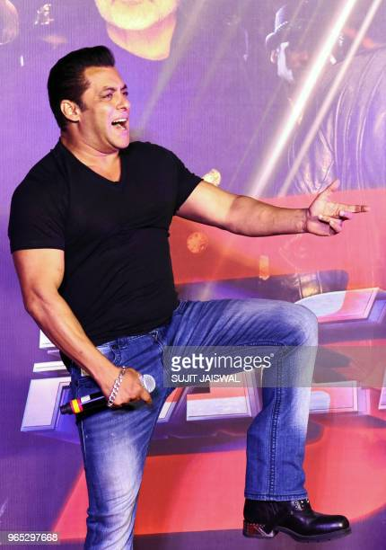 39952b19f139b Indian Bollywood actor Salman Khan sings during the music launch of the  upcoming action thriller Hindi