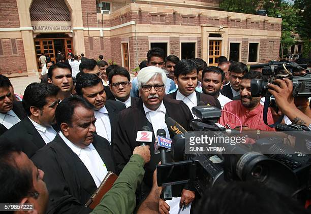 Indian Bollywood actor Salman Khan's lawyer Mahesh Boda speaks with the media outside the Rajasthan High Court after Khan was acquitted in the...