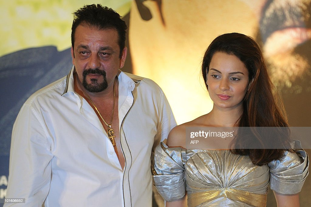 Indian bollywood actor Sanjay Dutt (L) and actress Kangana Ranaut attend a press conference for the new film 'Knock Out', during the International Indian Film Academy (IIFA) awards event in Colombo on June 5, 2010. Megastar Aamir Khan's hit movie '3 Idiots' is set to sweep the board at the 'Bollywood Oscars' in Sri Lanka this weekend, after scooping a string of awards in the technical categories. AFP PHOTO/Punit PARANJPE
